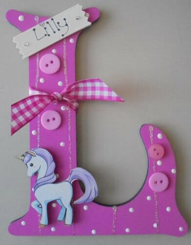 Unicorn Personalised Wood Initial **ANY LETTER /& NAME ** kids Room Door Sign cer