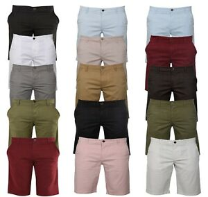 Mens-New-Chino-Casual-Shorts-100-Cotton-Cargo-Combat-Half-Pant-12-Colours