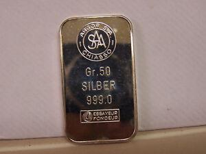 Argor Saa Chiasso 999 Fine Silver Ingot Bar 50 Gram Ebay