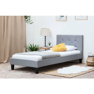 Modern Stylish Grey Fabric Upholstered Bed Frame Single Double King Size