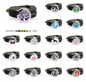 Wristbands Pu Leather Stainless Steel Aroma Essential Oil Diffuser Locket Bracelet+10pads Jewelry & Watches