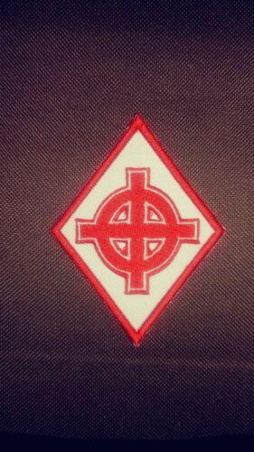 Celtic Cross Diamond Colors are Red  /& White 1/%er Patch Irish