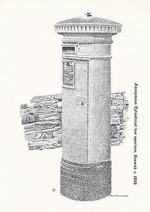 CYLINDRICAL-POSTBOX-c1885-NWPB-1st-PRINT-POSTCARD-KESWICK-SHS