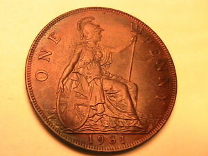 1931-GREAT-BRITAIN-1-Penny-Orig-EF-Brown-Toned-Luster-Traces-British-Bronze-Coin