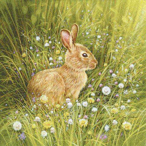 4 papel de Almuerzo Servilletas Para Decoupage Mesa de fiesta Vintage Verde Pequeño Conejos
