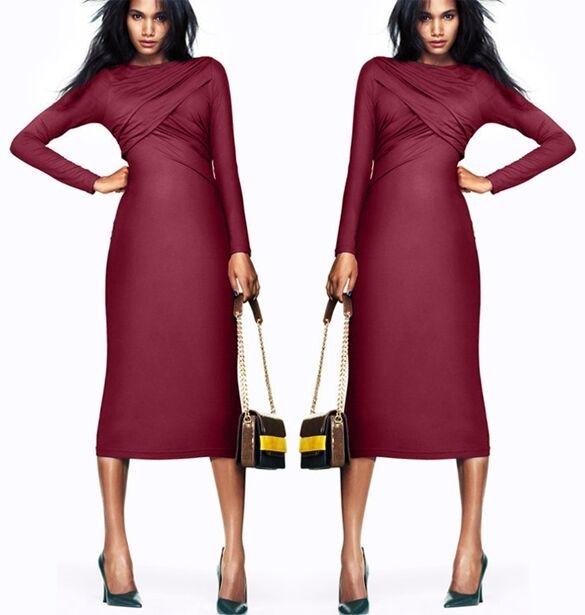 Kurzes Kleid Kleid Frau Etuikleid Rot Bordeaux Mode Abend Feier Lange Ärmel 3275