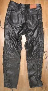 fette ARIZONA LOUIS Damen- Schnür- LEDERJEANS / Biker- Lederhose schwarz ca. 42