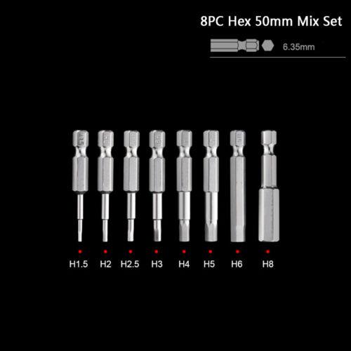 "1//4/"" Hex Scoket Screwdriver Bits H1.5-H12 Set 50mm-150mm S2 Magnetic Electric"