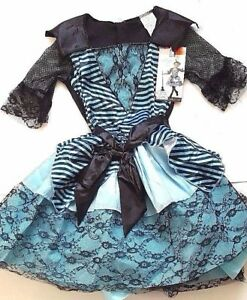 NWT-Girls-034-Enchanted-Witch-034-Blue-Lace-Striped-DRESS-Halloween-Costume-L-10-12