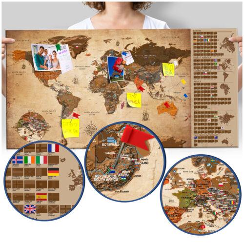 Rubbel Weltkarte Pinnwand zum rubbeln Rubbelkarte scratch off k-A-0228-o-c