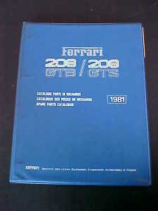ferrari 208 spare parts catalogue manual gtb gts blue ring book rh ebay com Ferrari 288 GTO White Ferrari 458