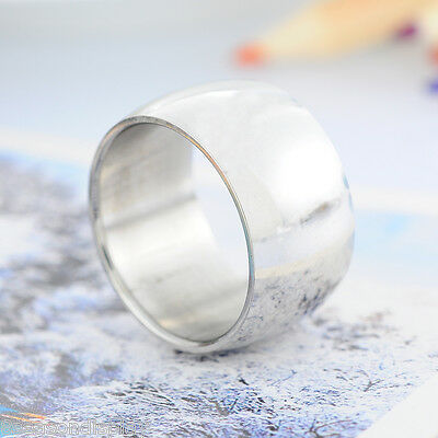 1PC Stainless Steel Silver Tone 12mm Wide Men's Smooth Band Ring - Choose Size