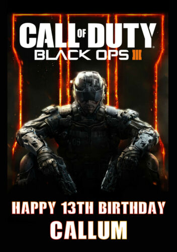 Black Ops 3 A5 Personalised Birthday Card FREE DELIVERY 24HR POST Call of Duty