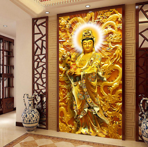 3D golden Buddha Painting Wall Paper Wall Print Decal Wall AJ WALLPAPER CA