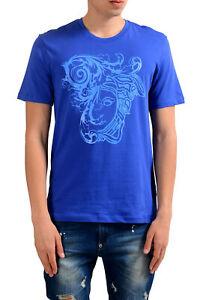 Versace-Collection-Uomo-Blu-Stampa-Grafica-T-Shirt-Taglia-S-M-L-XL