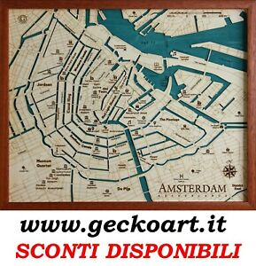 Cartina Amsterdam.Amsterdam Mappa Cartina 3d Quadro Moderno Map Chart Www Geckoart It Ebay