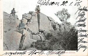 GIBEON, NAMIBIA - GERMAN SW AFRICA, SOLDIERS ON ROCKS, used Military Cancel 1906