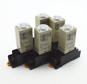 5Pcs-H3Y-2-AC-110V-Delay-Timer-Time-Relay-0-30-Seconds-with-Base