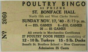 1940-Poultry-Bingo-Ticket-Stub-St-Boniface-Hall-N-11th-amp-W-Clarke-Milwaukee-WI