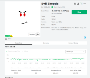 Roblox Limited Evil Skeptic 28k Value Ebay