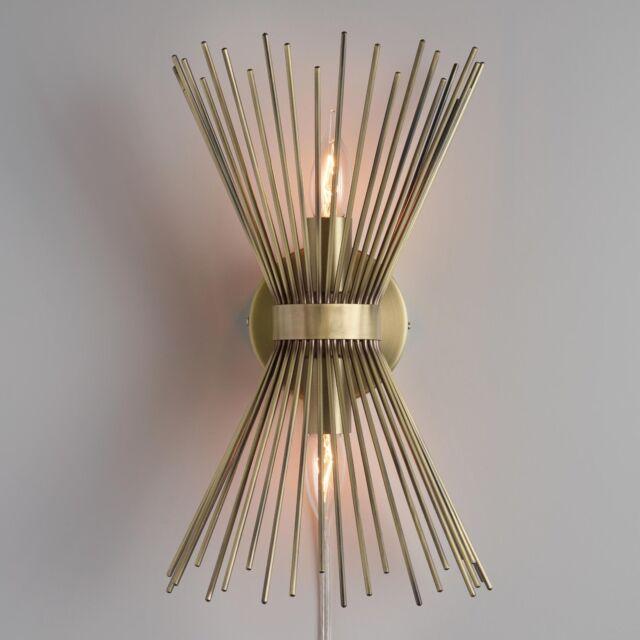 Finest Mid Century Modern Matt Brass Starburst Logan Dual Light  WG37