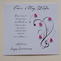 PERSONALISED Handmade BIRTHDAY ANNIVERSARY  CARD  VERSE Wife Girlfriend Fiancé