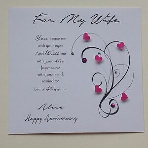 Image Is Loading PERSONALISED Handmade BIRTHDAY ANNIVERSARY CARD VERSE Wife Girlfriend
