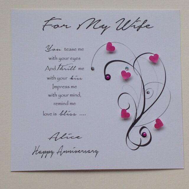 PERSONALISED Handmade BIRTHDAY ANNIVERSARY CARD VERSE Wife Girlfriend Fiance