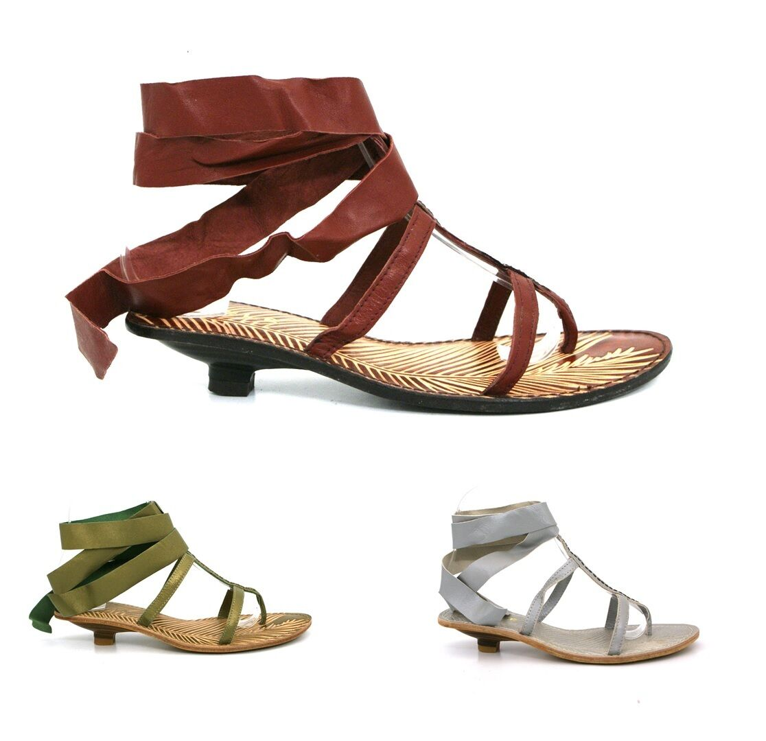 LADIES LOW WOMENS REAL LEATHER STRAPPY LOW LADIES HEEL ROMAN MAXI SUMMER SANDALS SHOES SIZE fdb3eb
