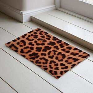 Leopard Print Door Mat Non-Slip Fun Novelty Rug Utility Door Mat 45x75cm