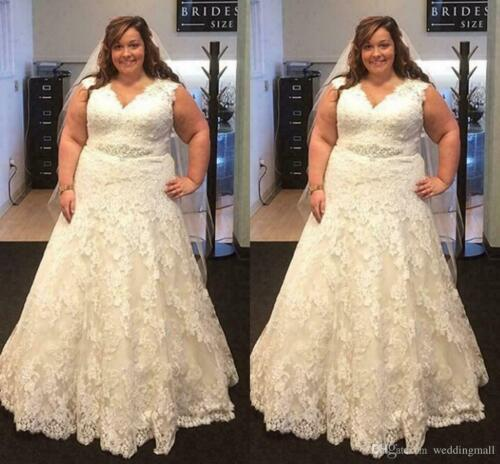 Plus Size Wedding Dress V neck A Line Lace Bridal Gown Custom made 2-26W