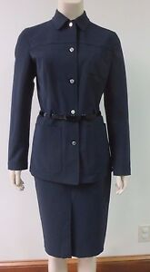 Blue Veste Mint Belt 44 Sz Ceinture Condition Navy Blazer Midnight Prada Triple vqE1II