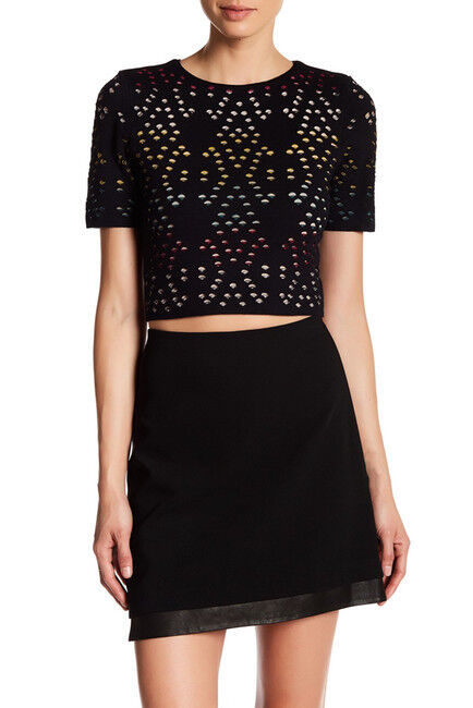 Alice + Olivia Ines MultiFarbe Pointelle Knit Crop Shirt NWT    SZ L   C321