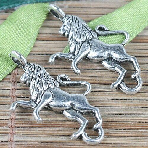 10pcs tebetan silver color lion design charms EF0294