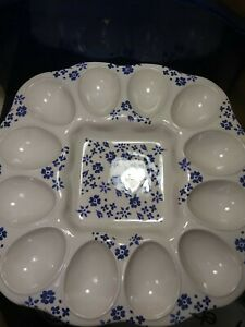 Vintage Portugal Ceramic Deviled Eggs  Display Serveware. Floral Pattern