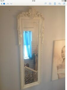 French-Style-Shabby-Chic-Pair-Of-Carved-Wooden-Cream-Mirrors