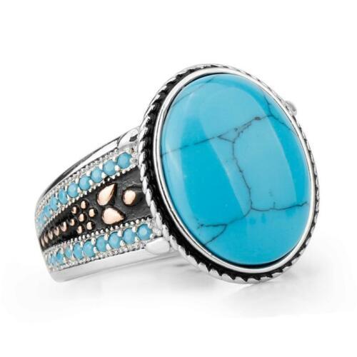 Bague Turquoise naturelle bleu homme argent massif 925 pas cher pierre bleue