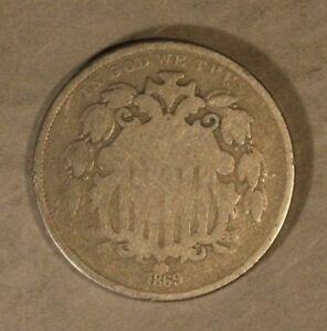 1869-Shield-Nickel-Circulated-Free-U-S-Shipping