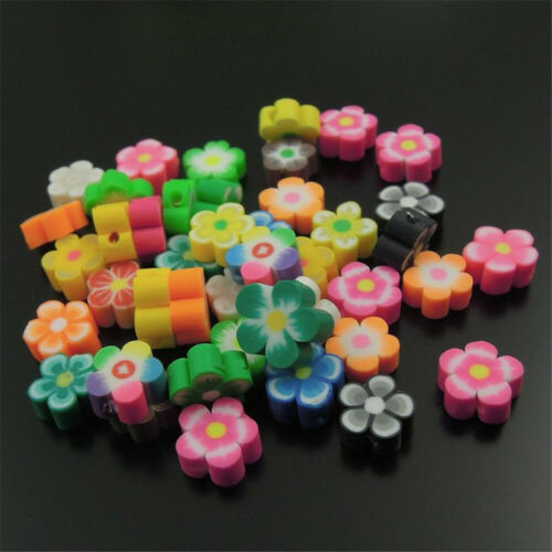 100pcs Mixed Colorful Flower Floral Polymer Clay Beads Jewelry DIY Accessories