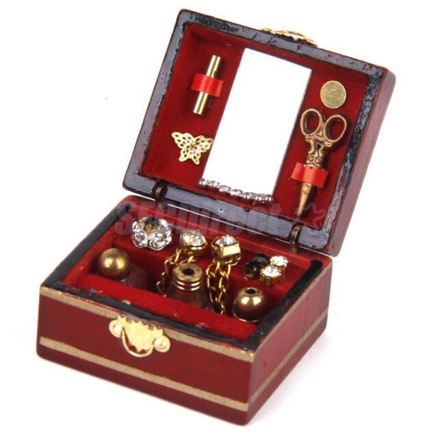 1:12 Dolls House Miniature Bedroom Wooden Dressing Case Makeup Perfume Box