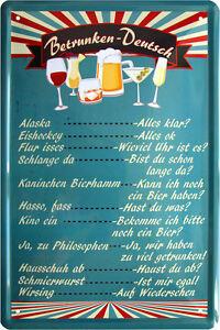 Bar Deko betrunken getränkekarte bar deko bier 20x30 cm