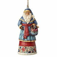 JIM SHORE HEARTWOOD CREEK SANTA WITH BASKET HANGING ORNAMENT 4053831 NEW