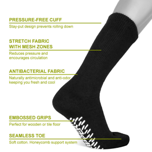 3, 6, or 12 Pairs Diabetic CREW circulatory Socks Health Men's   <NON SKID SOLE>