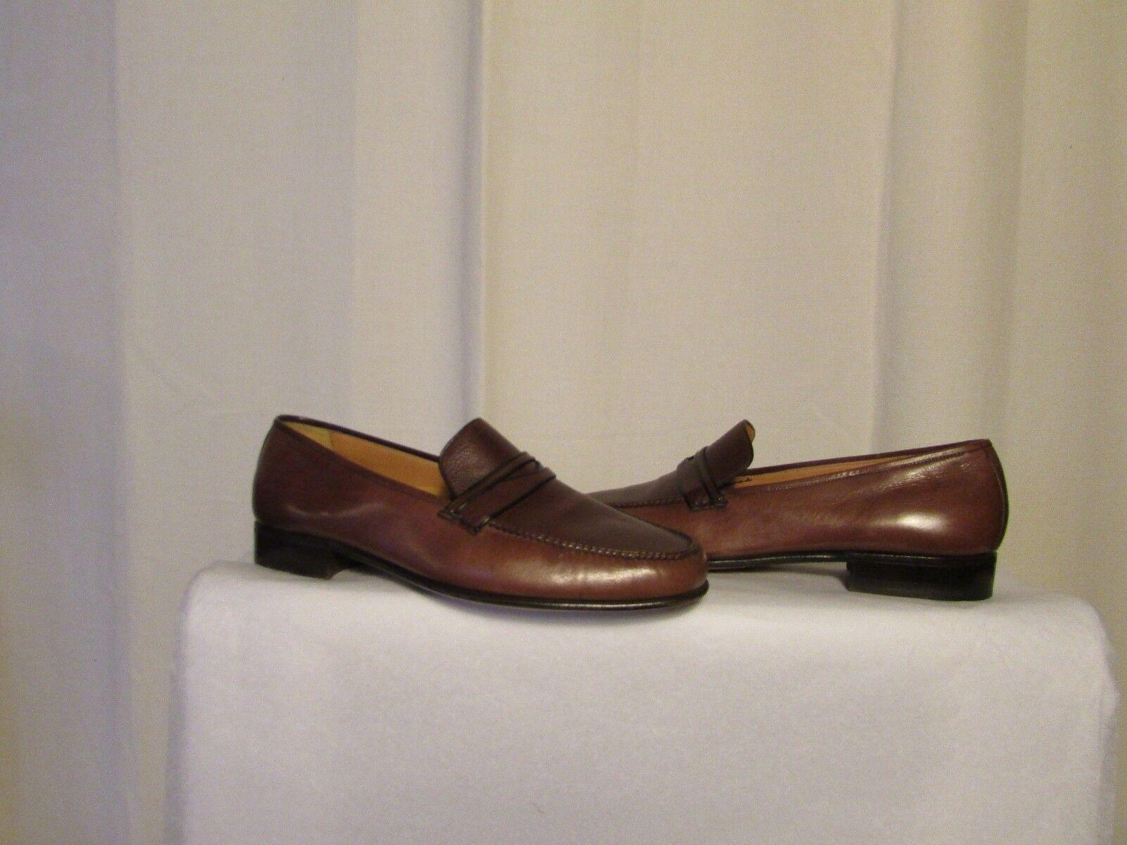 Schuhe vintage vintage vintage A.TESTONI Leder + oder - Karamell und Leder gemasert braun 9,5 F e7738d