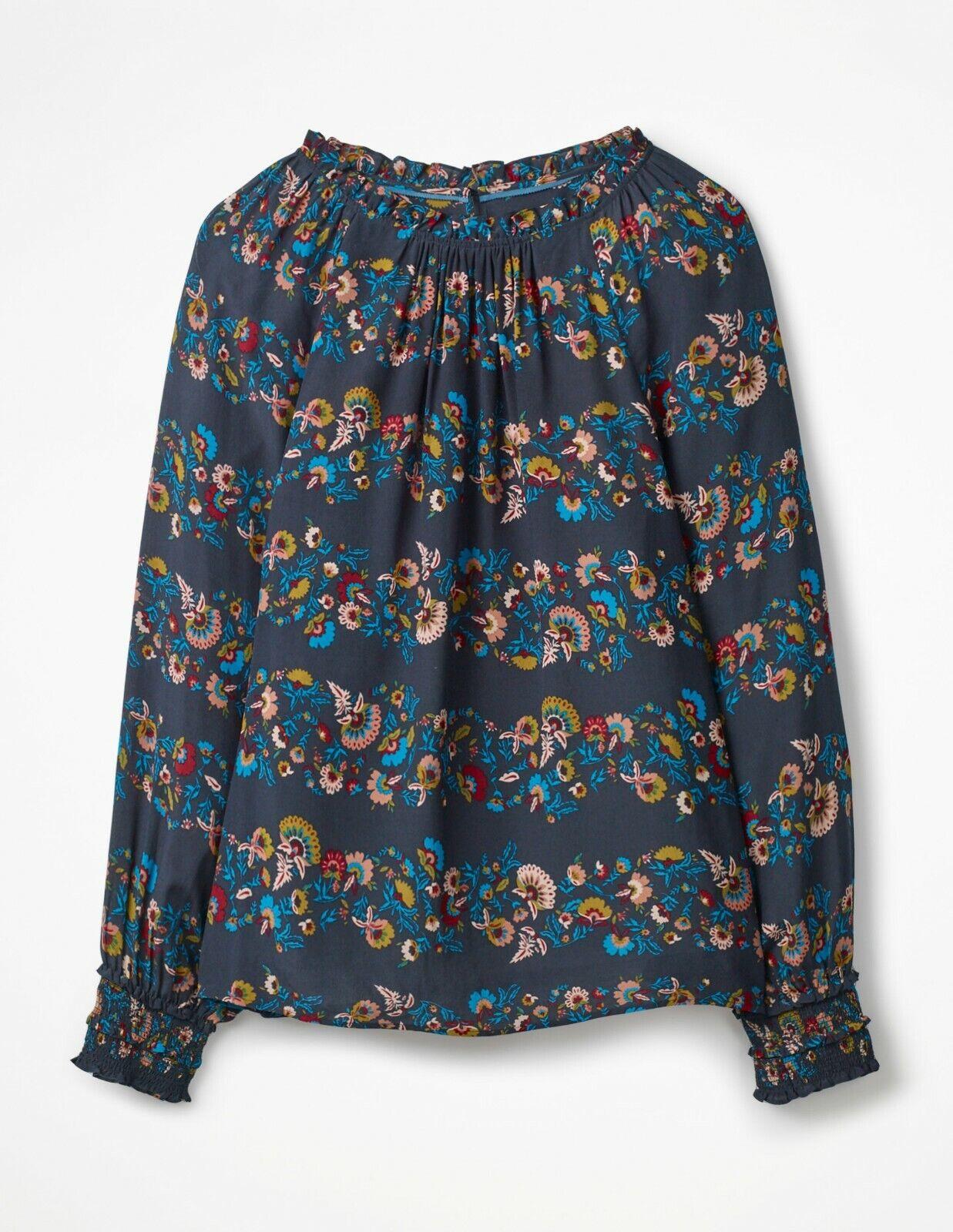 Boden stylish Sadie Silk Top - Navy Flourish Stripe damen Größe 12US