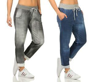 Jogginghose Damen leicht Jersey Sporthose Sweatpants Jogger Jeansdruck Gummizug