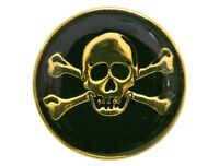 6 Skull & Crossbones 1 Inch ( 25 Mm ) Dill Metal Buttons Gold And Black Color