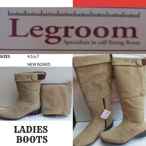 71ed4859b468 LADIES LONG BEIGE BOOTS ( EXTRA WIDE FIT ) 2 LOOK LEGROOM SIZES 4 5 ...