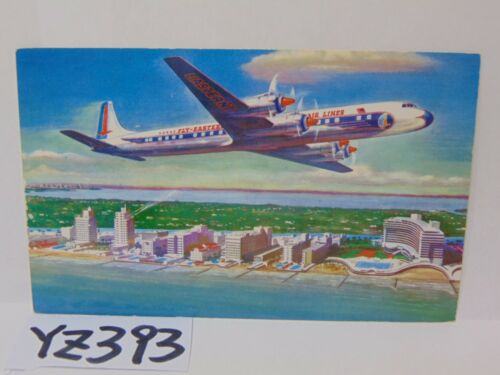 VINTAGE POSTCARD EASTERN AIRLINES GOLDEN FALCON DC7B PLANE 50'S BEACH