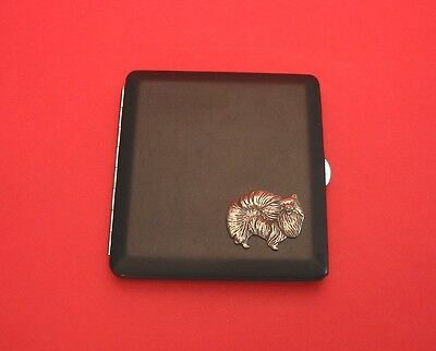 Pomeranian Pewter Motif on Black PU Leather Card Holder Xmas Mum Dad Dog Gift
